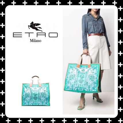 ETRO Totes Casual Style Canvas A4 Office Style Elegant Style Logo Totes