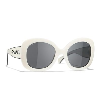 CHANEL Blended Fabrics Street Style Round Clear Flame Sunglasses