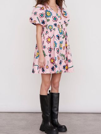 Flower Patterns Casual Style A-line Flared Street Style
