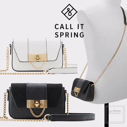Call It Spring Shoulder Bags Casual Style Faux Fur Chain Plain Party Style Elegant Style