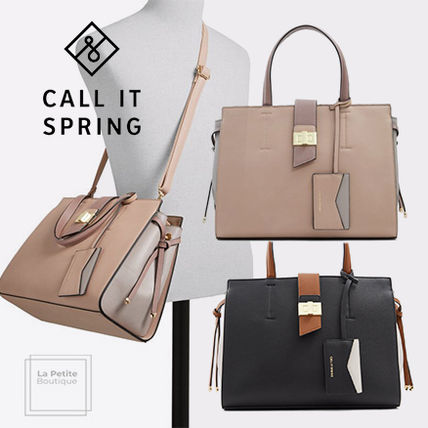 Call It Spring Totes Casual Style Faux Fur 2WAY Bi-color Plain Elegant Style