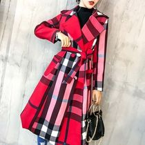 Other Plaid Patterns Long Trench Coats