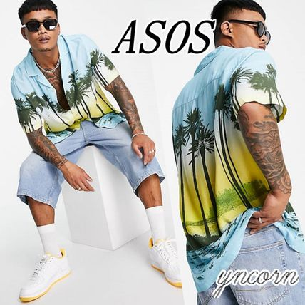 ASOS Shirts Button-down Tropical Patterns Street Style Short Sleeves