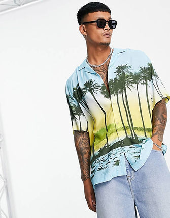 ASOS Shirts Button-down Tropical Patterns Street Style Short Sleeves 2