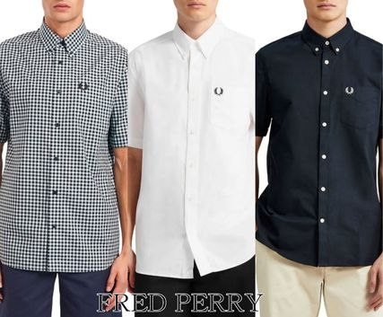 FRED PERRY Shirts Button-down Gingham Street Style Plain Cotton Short Sleeves