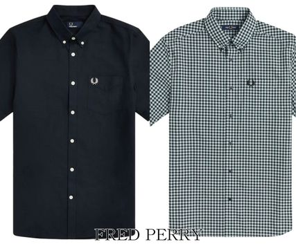 FRED PERRY Shirts Button-down Gingham Street Style Plain Cotton Short Sleeves 2