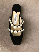 Jimmy Choo Square Toe Casual Style Suede Plain Leather Party Style