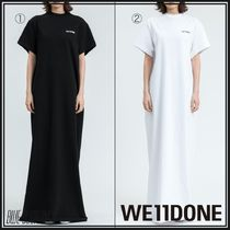 We11Done Crew Neck Casual Style Street Style Plain Cotton