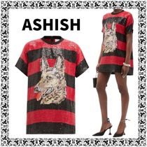 Ashish Crew Neck Short Stripes Casual Style Other Animal Patterns