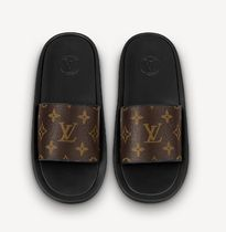 Louis Vuitton Monogram Open Toe Casual Style Leather Pin Heels Party Style