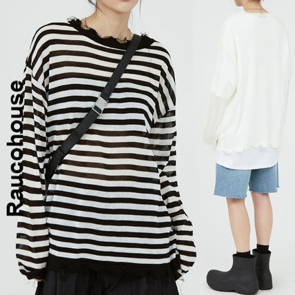 Raucohouse Sweaters Stripes Unisex Street Style Collaboration Long Sleeves Plain