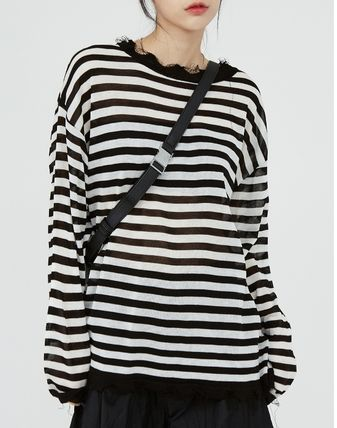 Raucohouse Sweaters Stripes Unisex Street Style Collaboration Long Sleeves Plain 2
