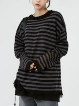 Raucohouse Sweaters Stripes Unisex Street Style Collaboration Long Sleeves Plain 7