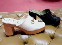 GUCCI Open Toe Square Toe Casual Style Plain Leather Block Heels