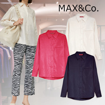 Max&Co. Casual Style Linen Long Sleeves Plain Medium Office Style