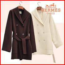 HERMES Casual Style Cashmere Plain Medium Party Style Office Style