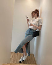 Pencil Skirts Casual Style Denim Street Style Long