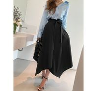 JULL-LOG Flared Skirts Casual Style Street Style Plain Cotton Long