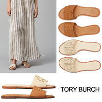 Tory Burch Open Toe Lace-up Casual Style Street Style Leather