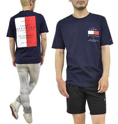 Tommy Hilfiger Crew Neck Crew Neck Pullovers Unisex Street Style Cotton Short Sleeves 3