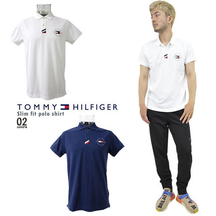 Tommy Hilfiger Polos Pullovers Unisex Street Style Cotton Short Sleeves