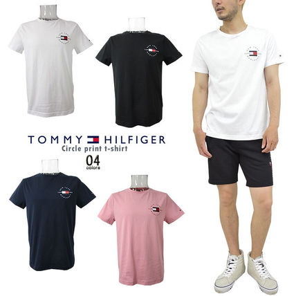 Tommy Hilfiger Crew Neck Crew Neck Pullovers Unisex Street Style Cotton Short Sleeves