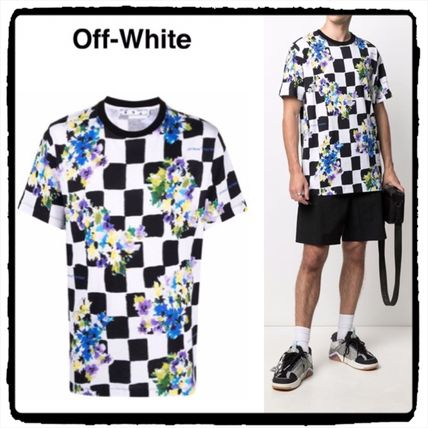 Off-White More T-Shirts Other Plaid Patterns Flower Patterns Street Style Cotton