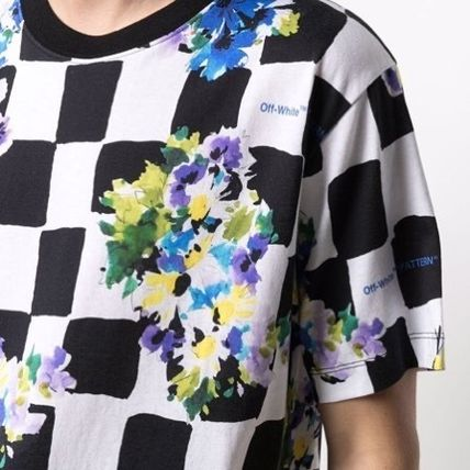 Off-White More T-Shirts Other Plaid Patterns Flower Patterns Street Style Cotton 2