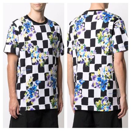 Off-White More T-Shirts Other Plaid Patterns Flower Patterns Street Style Cotton 3