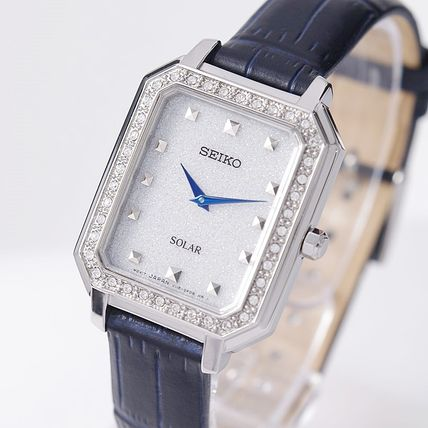 SEIKO Analog Casual Style Leather Metal Square Party Style Halloween