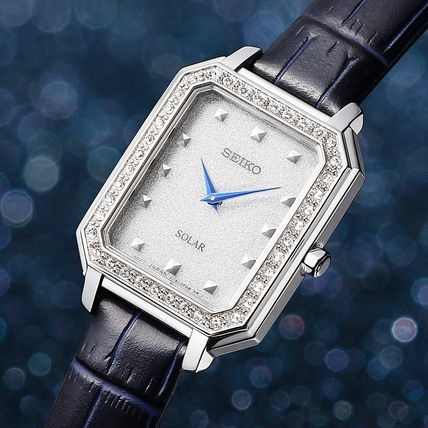 SEIKO Analog Casual Style Leather Metal Square Party Style Halloween 2