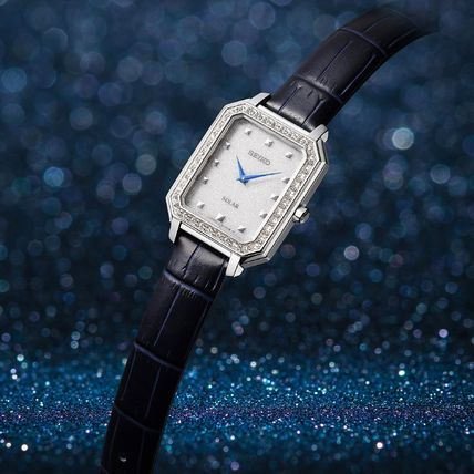 SEIKO Analog Casual Style Leather Metal Square Party Style Halloween 3