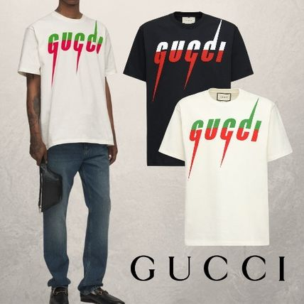 GUCCI Crew Neck Crew Neck Pullovers Unisex Street Style Cotton Short Sleeves