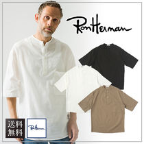Ron Herman Henry Neck Plain Short Sleeves Surf Style Henley T-Shirts