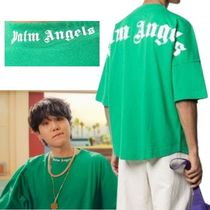 Palm Angels Crew Neck Crew Neck Pullovers Unisex Street Style Cotton Short Sleeves 5