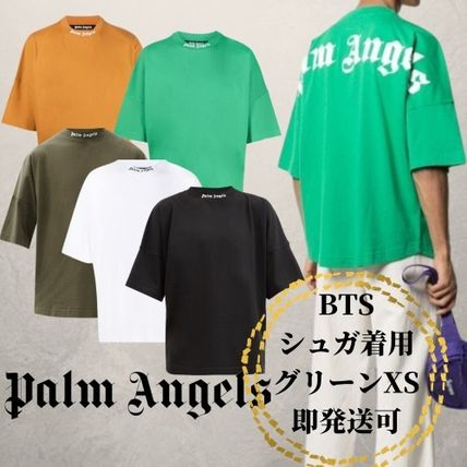 Palm Angels Crew Neck Crew Neck Pullovers Unisex Street Style Cotton Short Sleeves