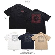 Shirts Button-down Paisley Unisex Street Style Cotton Short Sleeves 9
