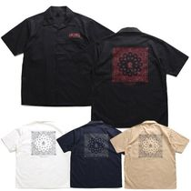 Shirts Button-down Paisley Unisex Street Style Cotton Short Sleeves 20