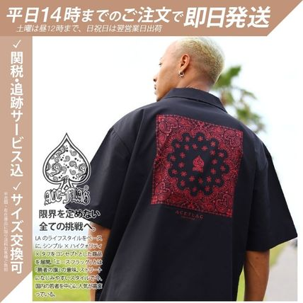 Shirts Button-down Paisley Unisex Street Style Cotton Short Sleeves