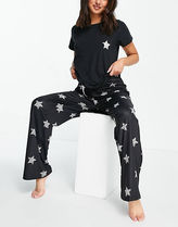 ASOS Loungeable Long Pajama Set With Star Print In Black
