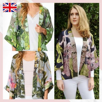 ONE HUNDRED STARS Shawls Short Flower Patterns Paisley Tropical Patterns Casual Style