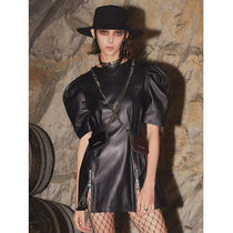 HOLY NUMBER 7 Short Street Style Chain Plain Leather Short Sleeves