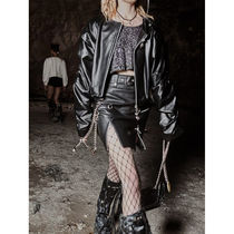 HOLY NUMBER 7 Short Street Style Chain Plain Leather Mini Skirts