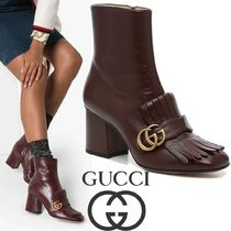 GUCCI GG Marmont Casual Style Plain Leather Block Heels Elegant Style