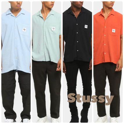 STUSSY Shirts Button-down Paisley Street Style Plain Cotton Short Sleeves