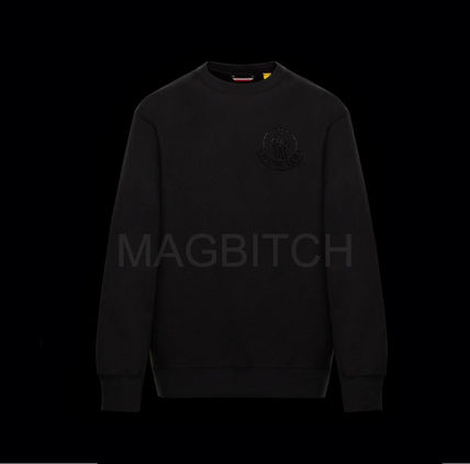 MONCLER Sweatshirts Crew Neck Pullovers Street Style Plain Cotton With Jewels