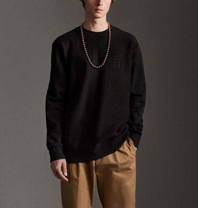 MONCLER Sweatshirts Crew Neck Pullovers Street Style Plain Cotton With Jewels 2