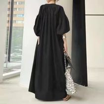Casual Style A-line Plain Long Oversized Puff Sleeves