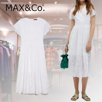 Max&Co. Casual Style Flared Plain Cotton Medium Short Sleeves Lace
