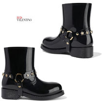 RED VALENTINO Round Toe Rubber Sole Studded Plain PVC Clothing
